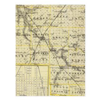 Map of Livingston County and Pontiac Postcard