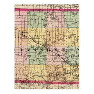 Map of Livingston County, Michigan Postcard