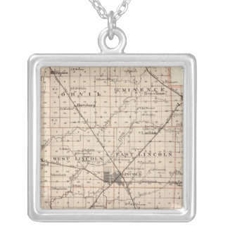 Map of Logan County Silver Plated Necklace