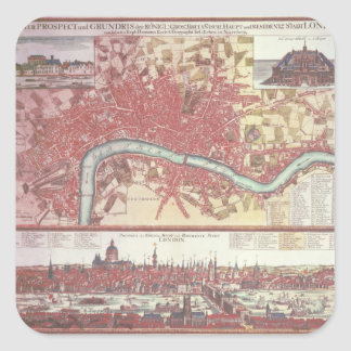 Map of London Square Sticker