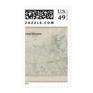 Map of Long Branch, NJ Postage Stamps