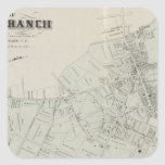 Map of Long Branch, NJ Square Stickers