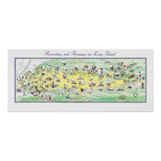 Map of Long Island - Recreation and Romance Poster