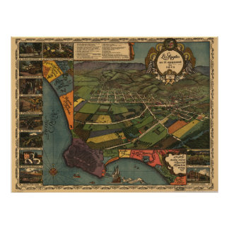 Map of Los Angeles County, Birds-Eye View, 1871 Posters