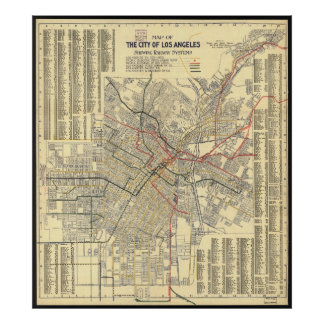 Map of Los Angeles Public Transit in 1909 Poster
