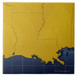 Map of Louisiana 2 Large Square Tile