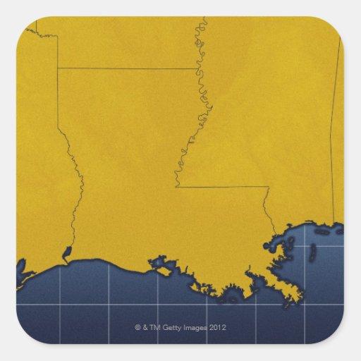 Map of Louisiana 2 Square Sticker