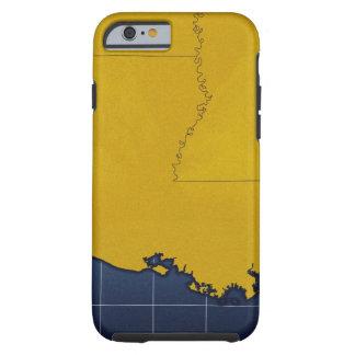 Map of Louisiana 2 Tough iPhone 6 Case