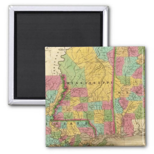 Map of Louisiana Mississippi And Alabama Refrigerator Magnets