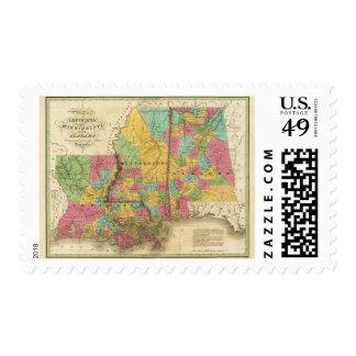 Map of Louisiana Mississippi And Alabama Postage