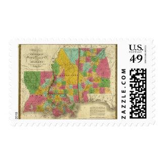 Map of Louisiana, Mississippi and Alabama Postage