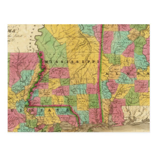 Map of Louisiana Mississippi And Alabama Postcard