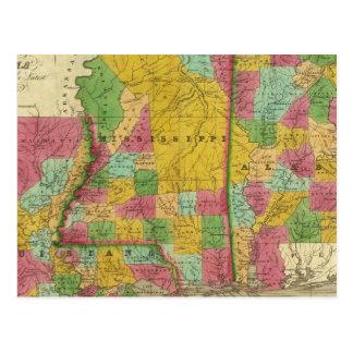 Map of Louisiana, Mississippi and Alabama Postcard