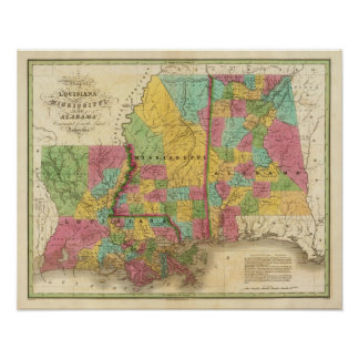 Map of Louisiana Mississippi And Alabama Poster