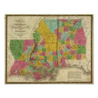 Map of Louisiana, Mississippi and Alabama Poster