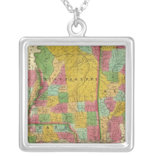 Map of Louisiana, Mississippi and Alabama Silver Plated Necklace