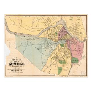 Map of Lowell, Massachusets (1881) Postcard