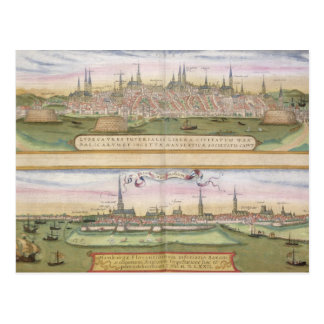 Map of Lubeck and Hamburg, from 'Civitates Orbis T Post Card