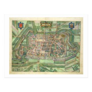 map of Luneburg, from 'Civitates Orbis Terrarum' b Postcard