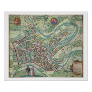 Map of Luxembourg, from 'Civitates Orbis Terrarum' Poster
