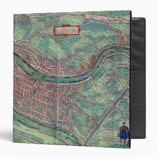 Map of Lyon, from 'Civitates Orbis Terrarum' by Ge 3 Ring Binder