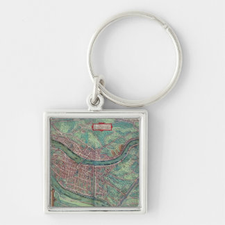 Map of Lyon, from 'Civitates Orbis Terrarum' by Ge Silver-Colored Square Keychain