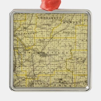Map of Madison County Square Metal Christmas Ornament