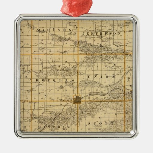 Map of Madison County, State of Iowa Square Metal Christmas Ornament