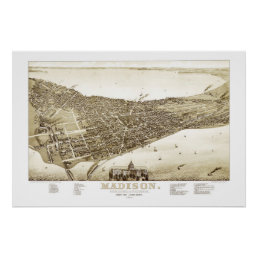 Map of Madison, Wisconsin from 1885 Poster
