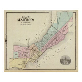 Map of Madison, Wisconsin Poster