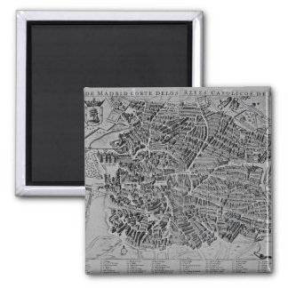 Map of Madrid 2 Inch Square Magnet