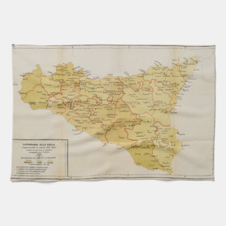 Map of Mafia Activity in Sicily Italy 1900 Hand Towel