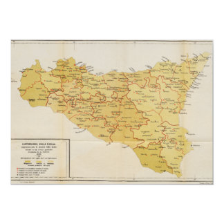Map of Mafia Activity in Sicily Italy 1900 Announcement