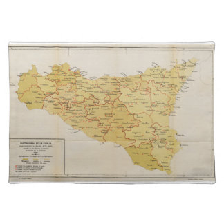 Map of Mafia Activity in Sicily Italy 1900 Cloth Placemat