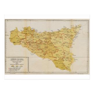 Map of Mafia Activity in Sicily Italy 1900 Postcard
