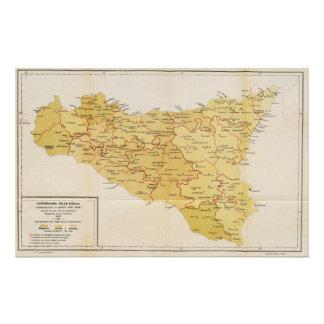 Map of Mafia Activity in Sicily Italy 1900 Stationery