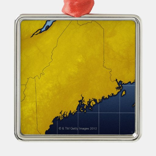 Map of Maine Christmas Ornaments
