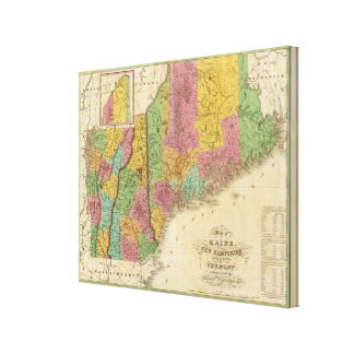 Map of Maine New Hampshire And Vermont Canvas Print