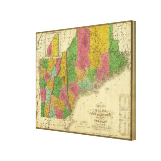 Map of Maine, New Hampshire, and Vermont Canvas Print