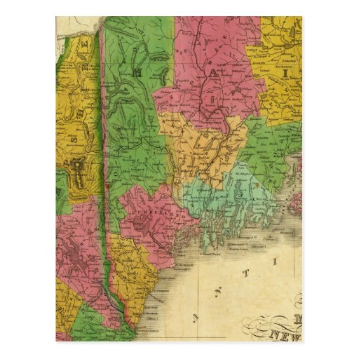 Map Of Maine New Hampshire And Vermont Postcard  Zazzle