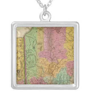 Map of Maine New Hampshire And Vermont Silver Plated Necklace