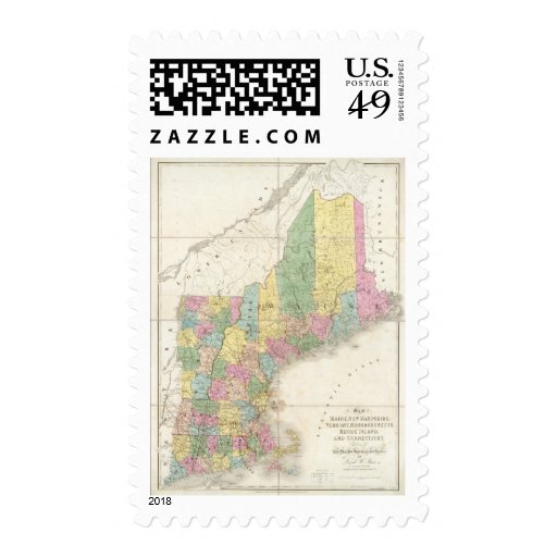 Map of Maine, New Hampshire, Vermont Stamps