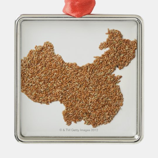 Map of Mainland China made of Glutinous Rice Metal Ornament