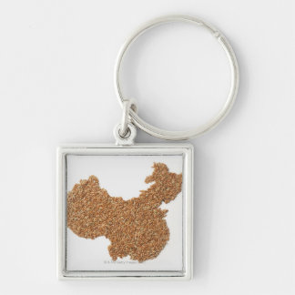 Map of Mainland China made of Glutinous Rice Silver-Colored Square Keychain
