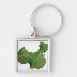 Map of Mainland China made of grass Silver-Colored Square Keychain