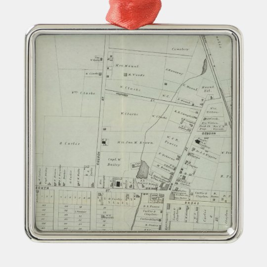 Map of Manasquan, New Jersey Metal Ornament