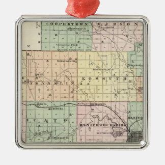 Map of Manitowoc County, State of Wisconsin Christmas Ornaments