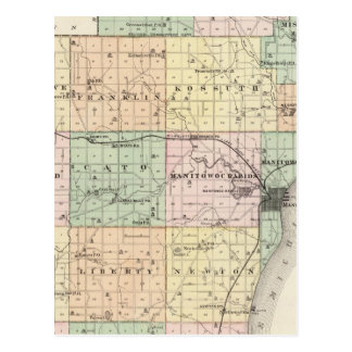 Map of Manitowoc County, State of Wisconsin Postcard