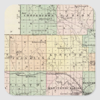 Map of Manitowoc County, State of Wisconsin Square Sticker