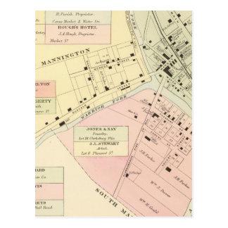 Map of Mannington, West Virginia Post Cards